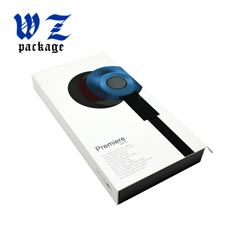 Custom Printing Book Shape Headset Cardboard Paper Box With Inner Foam