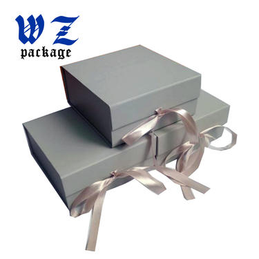 Fancy Design Sliver Color Foldable Paper Gift Box With Ribbon