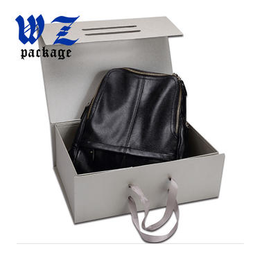 Excellent Luxury Paper Magnetic Foldable Gift Box With Handle Ribbon
