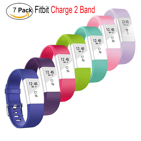 Fitbit Charge 2 bands large-Adjustable Wristbands Strap for Fitbit Charge 2 Replacement -7 Pack Large