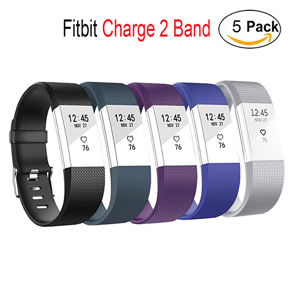 Fitbit Charge 2 bands-Adjustable Wristbands Strap for Fitbit Charge 2 Replacement -5 Pack Large