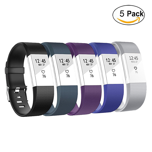 Fitbit Charge 2 Wristband-Adjustable Wristbands Strap for Fitbit Charge 2 Replacement -5Pack Small