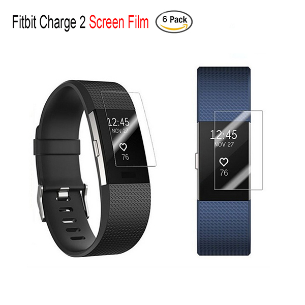 6-Pack Full Coverage Fitbit Charge 2 Screen Protector HD Clear Premium Anti-Bubble Film