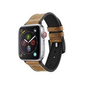 Genuine Leather Apple Watch Bands with Silicone Inside Buckle Style
