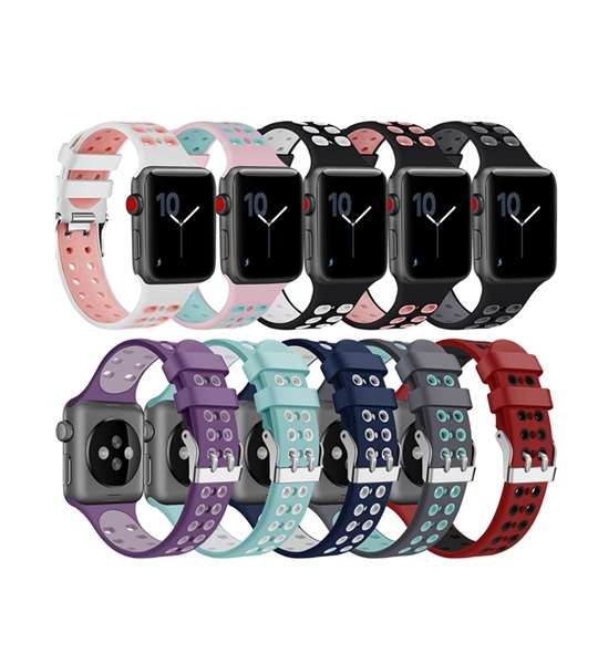 Silicone Apple Watch Bands Double Colors Nike Style with Double Buckles