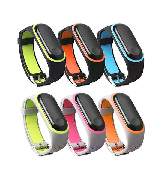 Double Colors Style Silicone Xiaomi Watch Bands Xiaomi Mi Band 3 With Buckle