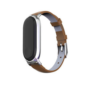 Leather Xiaomi Mi Band 3 Watch Bands With Metal Case