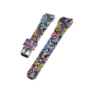 Water Transfer Print Pattern Silicone Watch Straps Samsung Gear S3 Watch Bands With Buckle