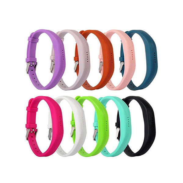 Pure Color Replacement Silicone Watch Bands for Fitbit Flex 2 with Buckle