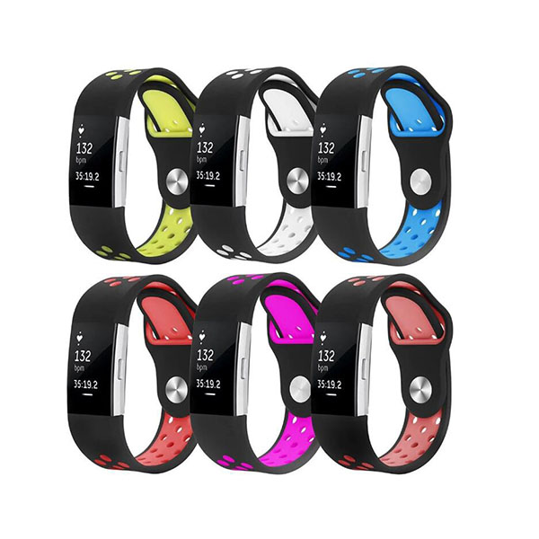 Nike Style Dual Colors Replacement Silicone Fitbit Watch Bands for Fitbit Charge 2
