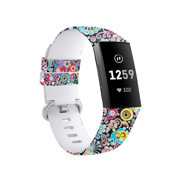 Water Transfer Printed Replacement Silicone Fitbit Watch Bands for Fitbit Charge 3