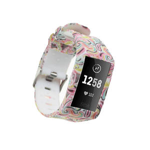 Water Transfer Printed Replacement Silicone Fitbit Watch Bands For Fitbit Charge 3 With Buckle