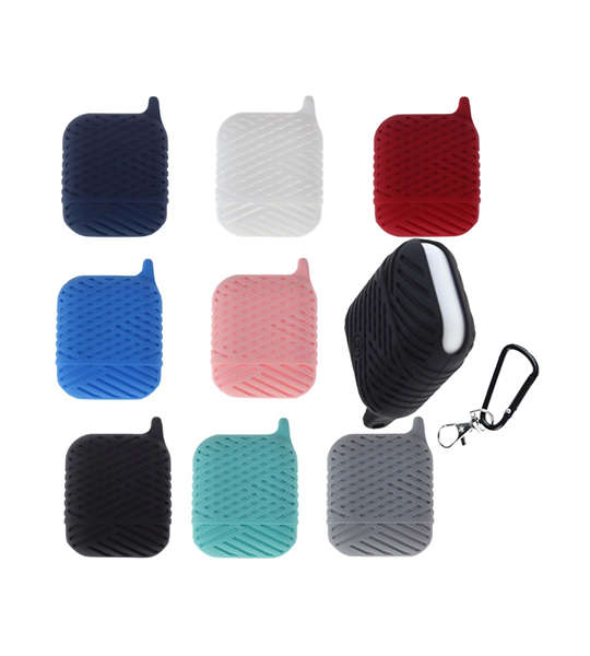 Pure Color Silicone AirPods Case Cover with Carabiner