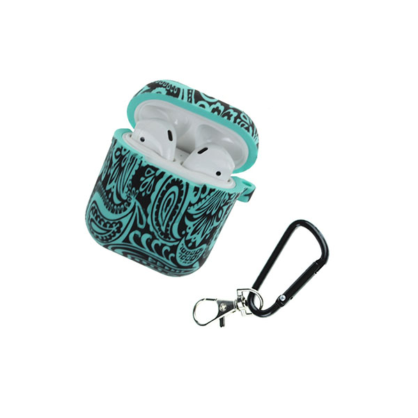 Water Transfer Printing Silicone AirPods Case Cover with Carabiner