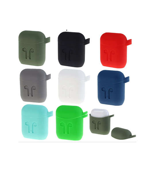 Pure Color Silicone AirPods Case Cover Separately with Carabiner