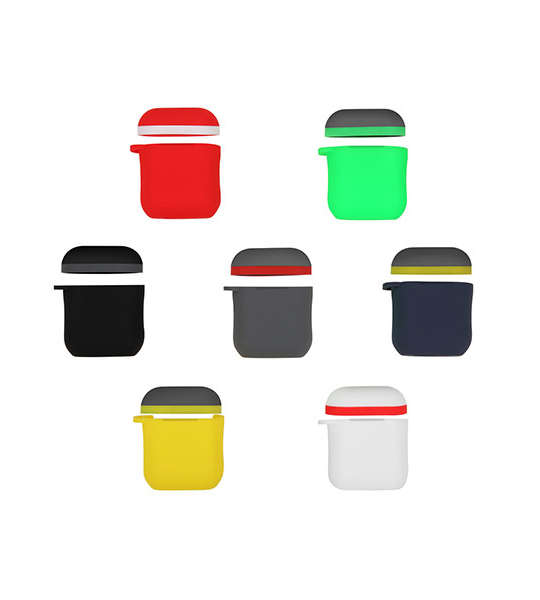 New Style Dual Colors Silicone AirPods Case Cover Separately with Carabiner for Original AirPods Case