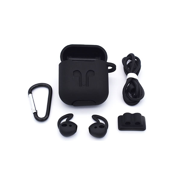 Silicone AirPods Case Cover Set including Carabiner/Earhooks/cord/AirPods Stand/AirPods Case Cover