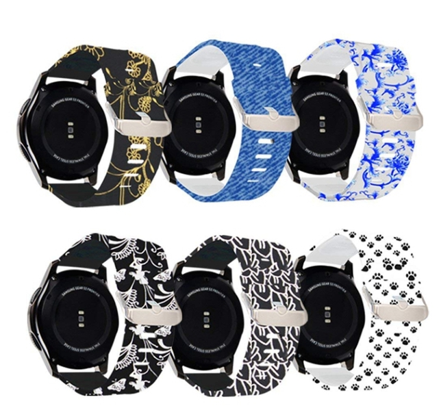 Water Transfer Printing Silicone Xiaomi Amazfit Bands 22mm Watch Bands Smart Watch Band with Buckle