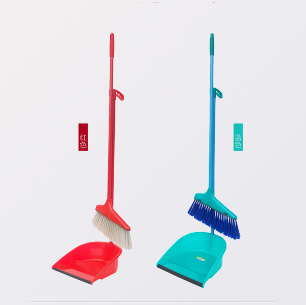 Colorful durable lobby broom and dustpan set