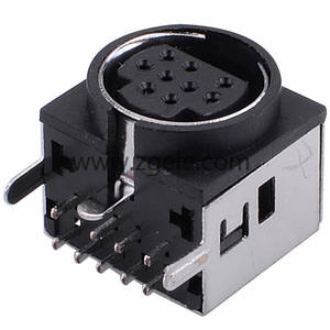 Dip Mini Din 9 pin connector with 90 degree shield housing,MDC-9-007