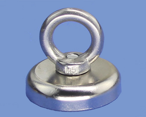32mm dia X 8mm thick Strong magnet pot With M6 Eyebolt