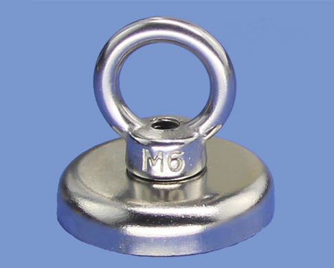 A42 NdFeB magnet pot With M6 Eyebolt With 72kgs Pull Force