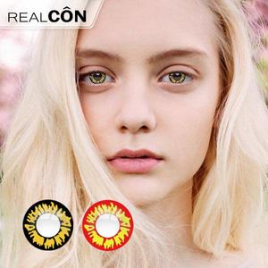 Realcon Yellow & Black Flame Cheap Cosplay Color Contact Lenses Manufacturer