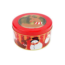 Round cookie tin can with window