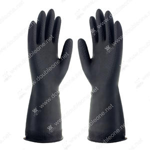 OUBLE ONE DOUBLE ONE Chemical Resistant Gloves,black latex industrial gloves