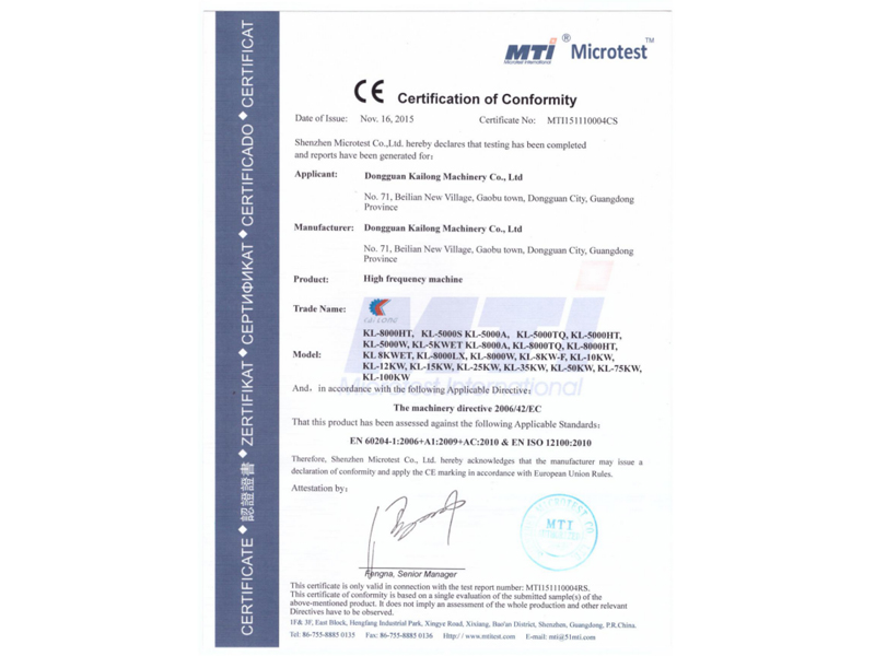 Kailong Machinery Passed CE Certificate