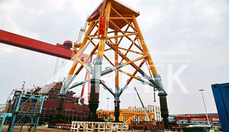 More than 1000 tons wind power plant steel structure is transported by our SPMT system