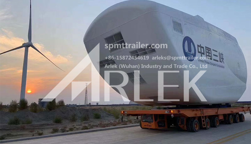 One heavy transporter is used for windmill construction