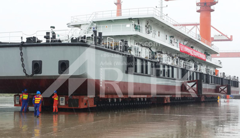 A Shipyard in Wuchang used a 72 axle SPMT  to transport a whole vessel of 3000 tons in weight