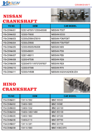 NISSAN CRANK SHAFT LIST