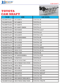TOYOTA CAM SHAFT LIST