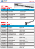 NISSAN CAM SHAFT LIST