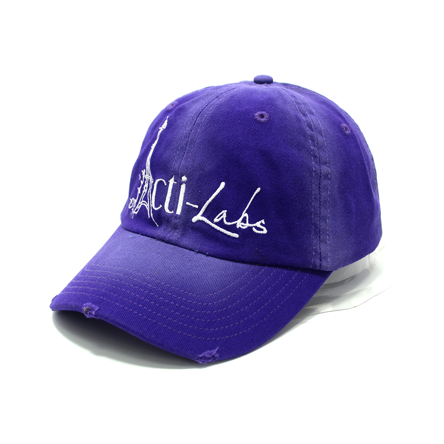 Worn-out purple dad hats