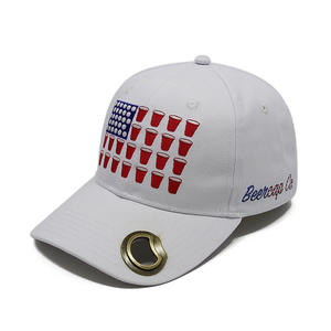 Embroidered Logo White Baseball Hats With Bottle Opener