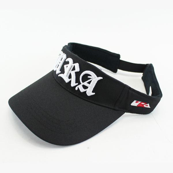Black visor hats, Embroidered letter