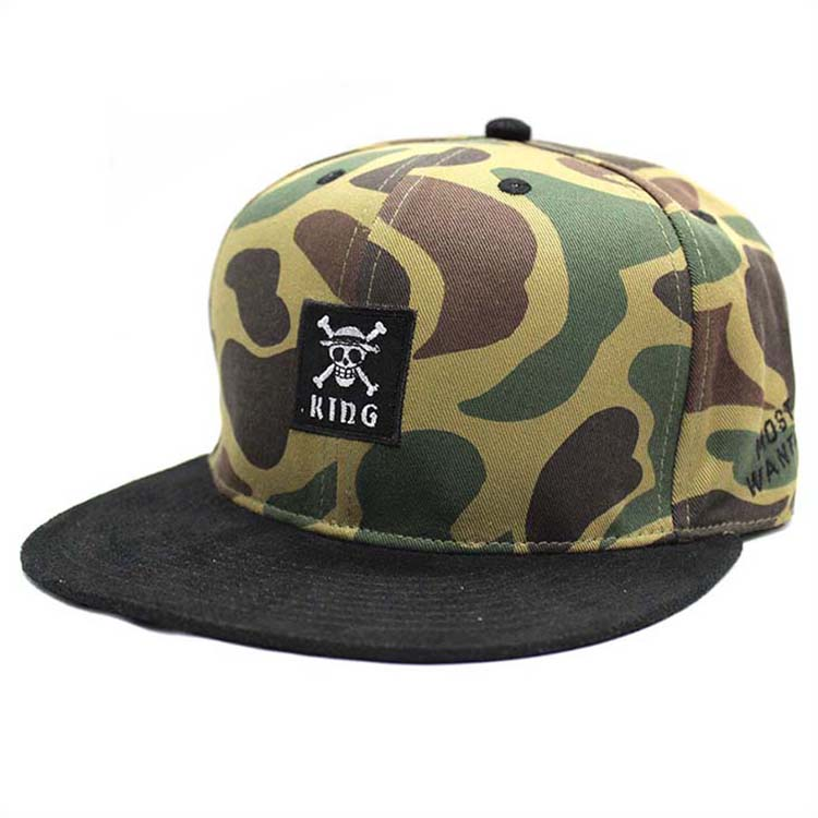Pirate logo camo snapback hats