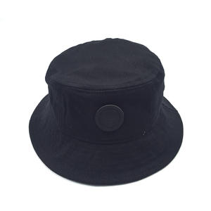 Custom Black Bucket Hats With Badge Logo