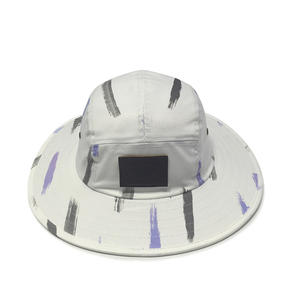 Custom White Bucket Hats With Badge Logo