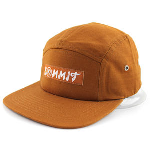 Custom Brown Denim 5 Panel Hats With Sewing LOGO | Dongguan Wintime Hat Manufacturer