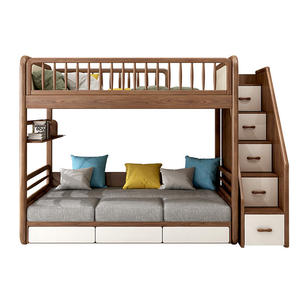 Space Saving Kids Twin Loft Bunk Bed With Desk And Stairs
