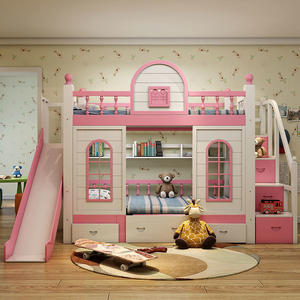 Modern Princess Children Bedroom Furniture Bunk Beds Set Pink