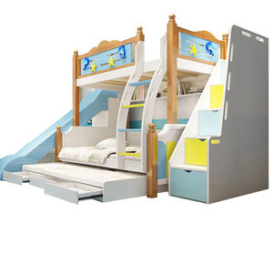 Wood Kids Bunk Bed For Boys With Slide Colorful Children'S Furniture Bed Sets