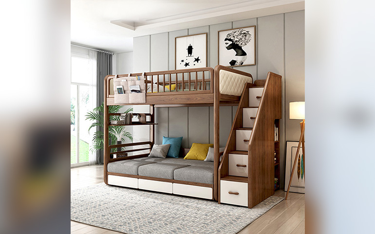 Solid Wood Bunk Sofa Bed,Folding Sofa Bunk Bed With Stairs