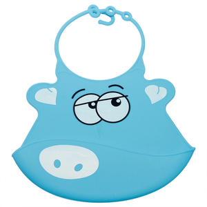 Wholesale Blue Pig High Quality Silicone Baby Bibs Healthier And Safer