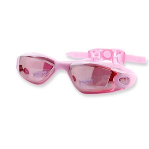 Fashion pink colour OEM customized professional silicone swimming glasses for adult googles
