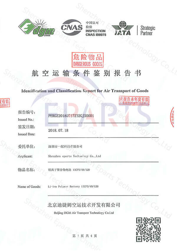Rapport d'identification et de classification pour le transport aérien de marchandises